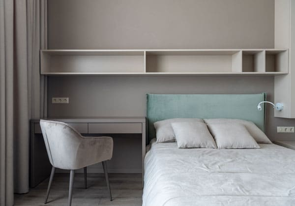 connected-bed-and-table in bedroom