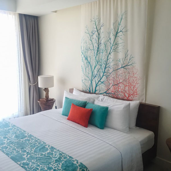 decorative fabric on the bedroom wall