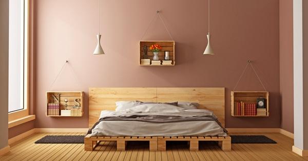 diy simple bed in bedroom