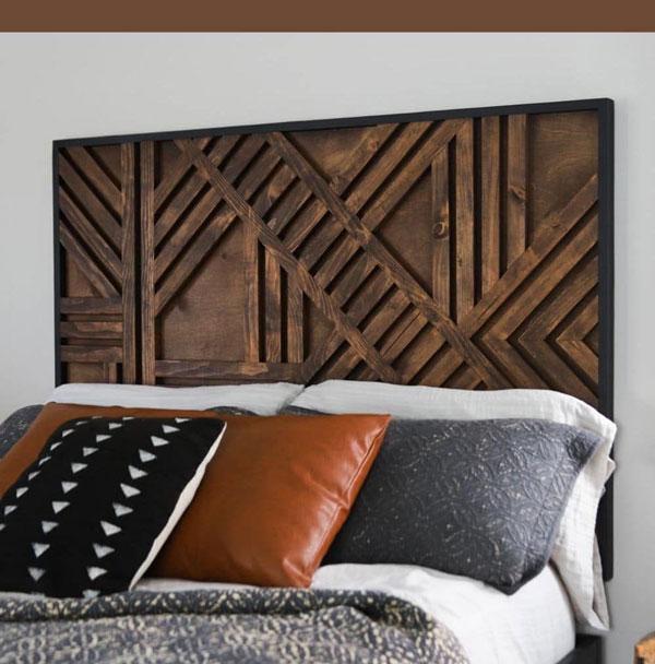 a bed with geometric-headboard