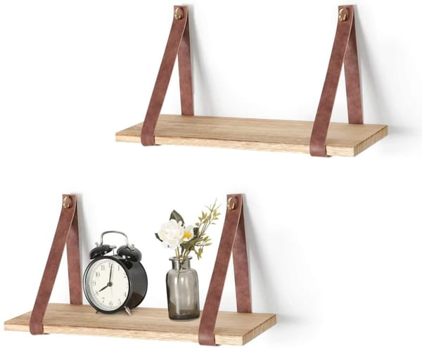 hanging shelves with leather