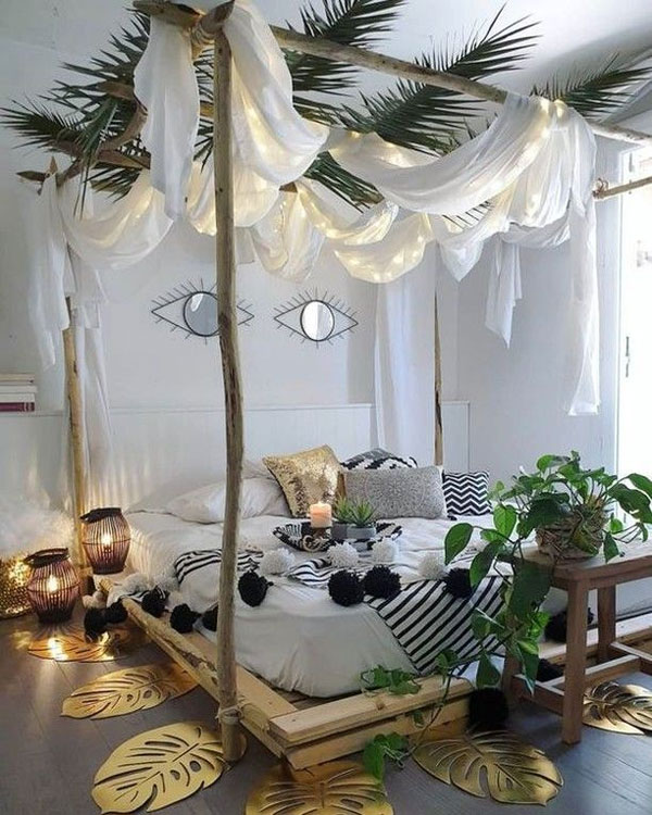 a bedroom pallet-bed-with-canopy