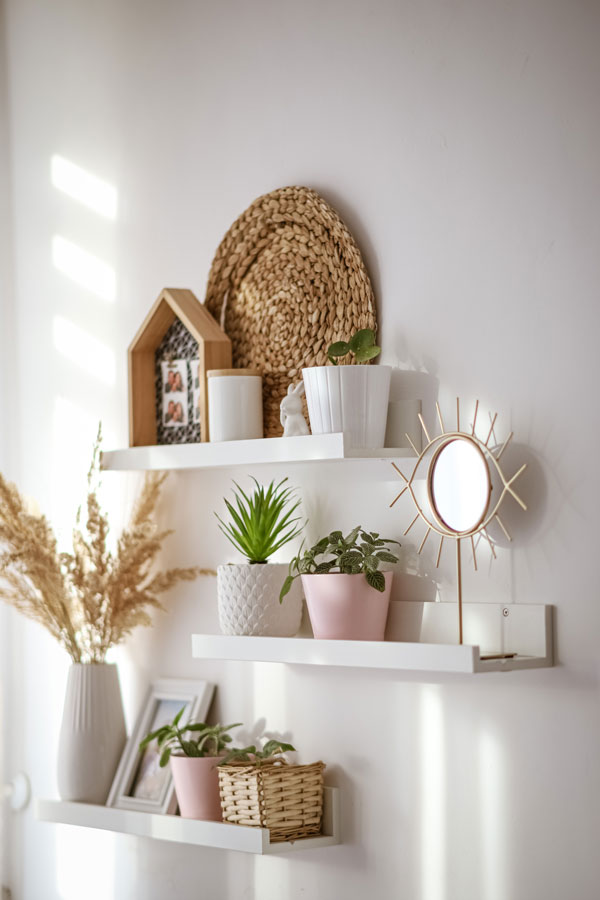 shelves on the bedroom wall