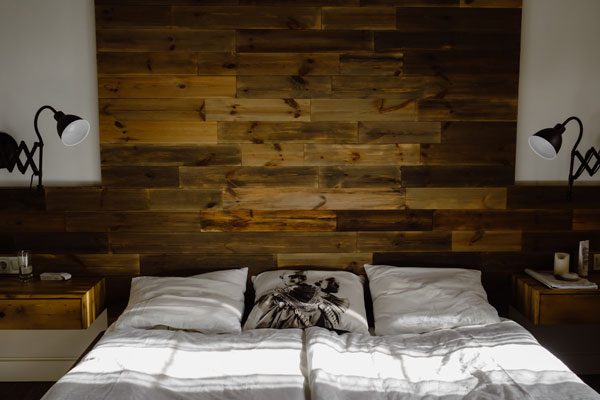 wooden decoration on the wall