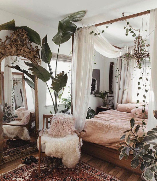 Bed-Canopy-Curtains-with-plants-