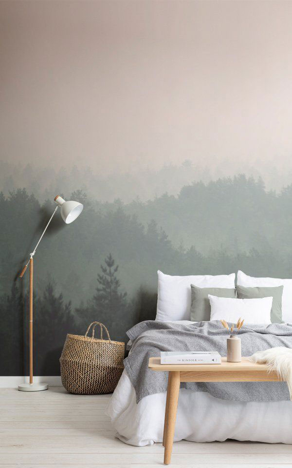 Combination-of-paint-and-wallpaper-in-the-bedroom