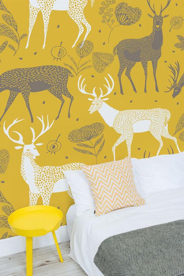 Yellow-wallpaper bed