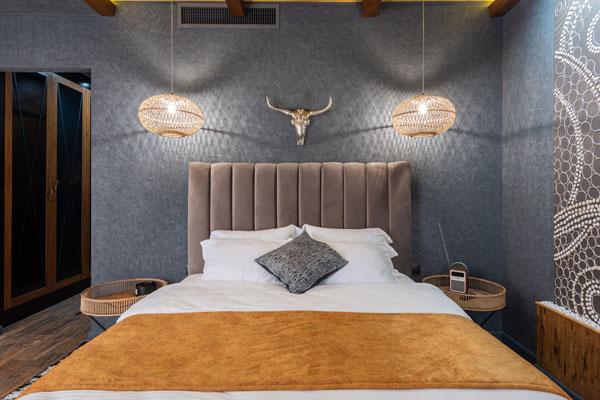 gray and cream bedroom