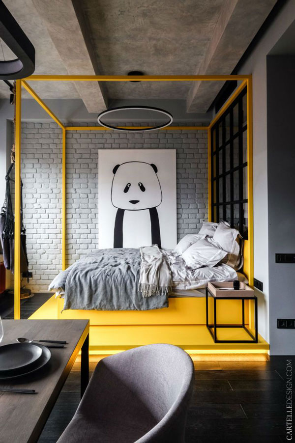 yellow-and-black-bedroom