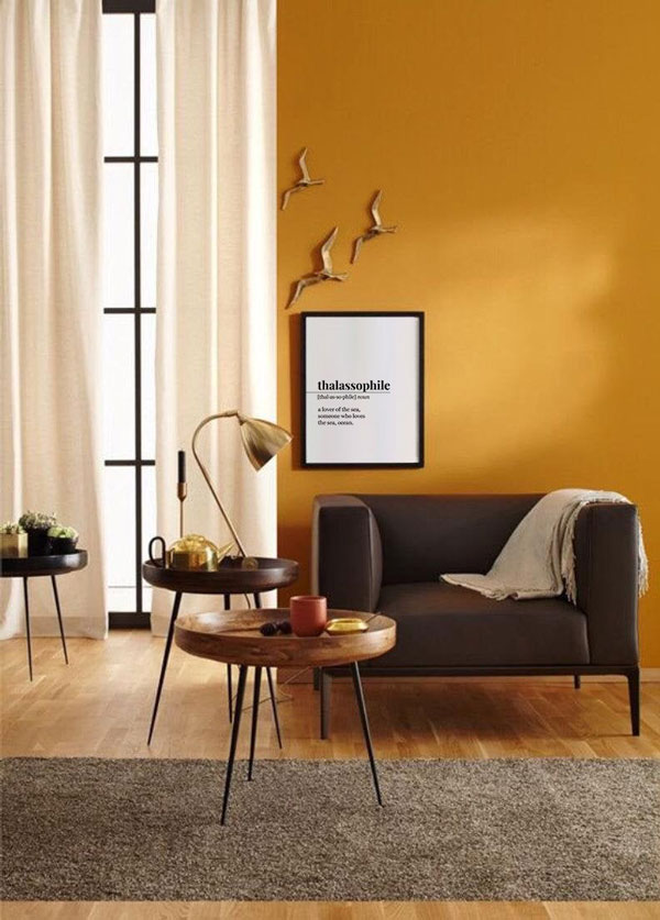Living-room-painting-with--yellow