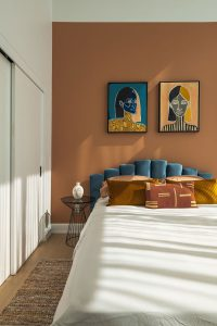 Combine-blue-with-brown-for-bedroom
