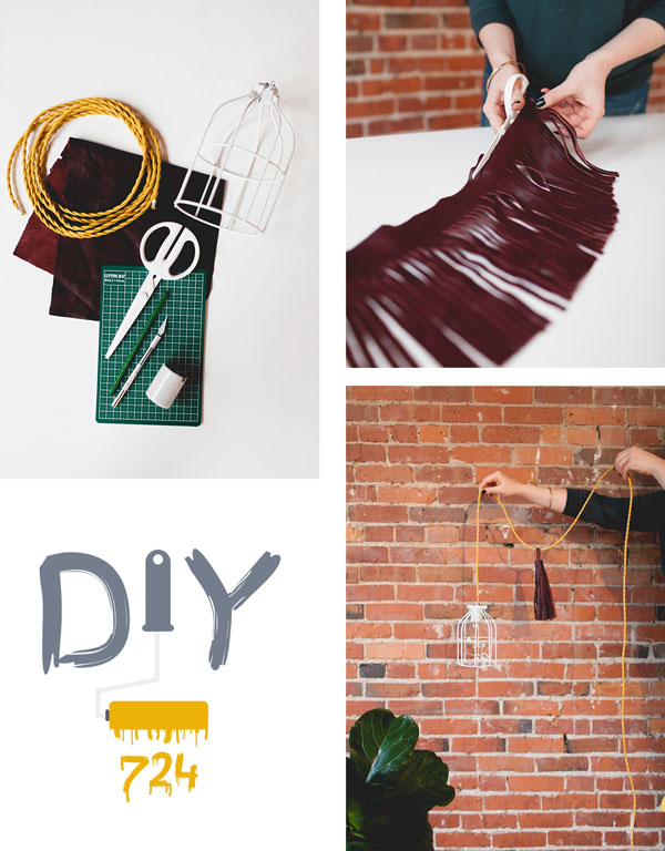 diy lamp with leather