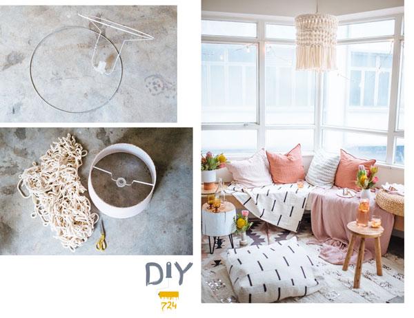 DIY lamp with macramé